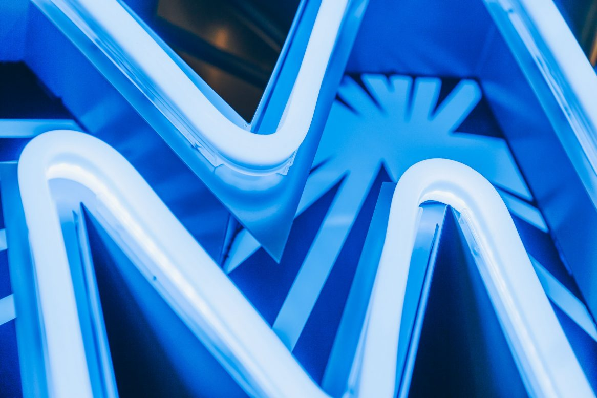 Very close shot of the blue neon lights used in the sign