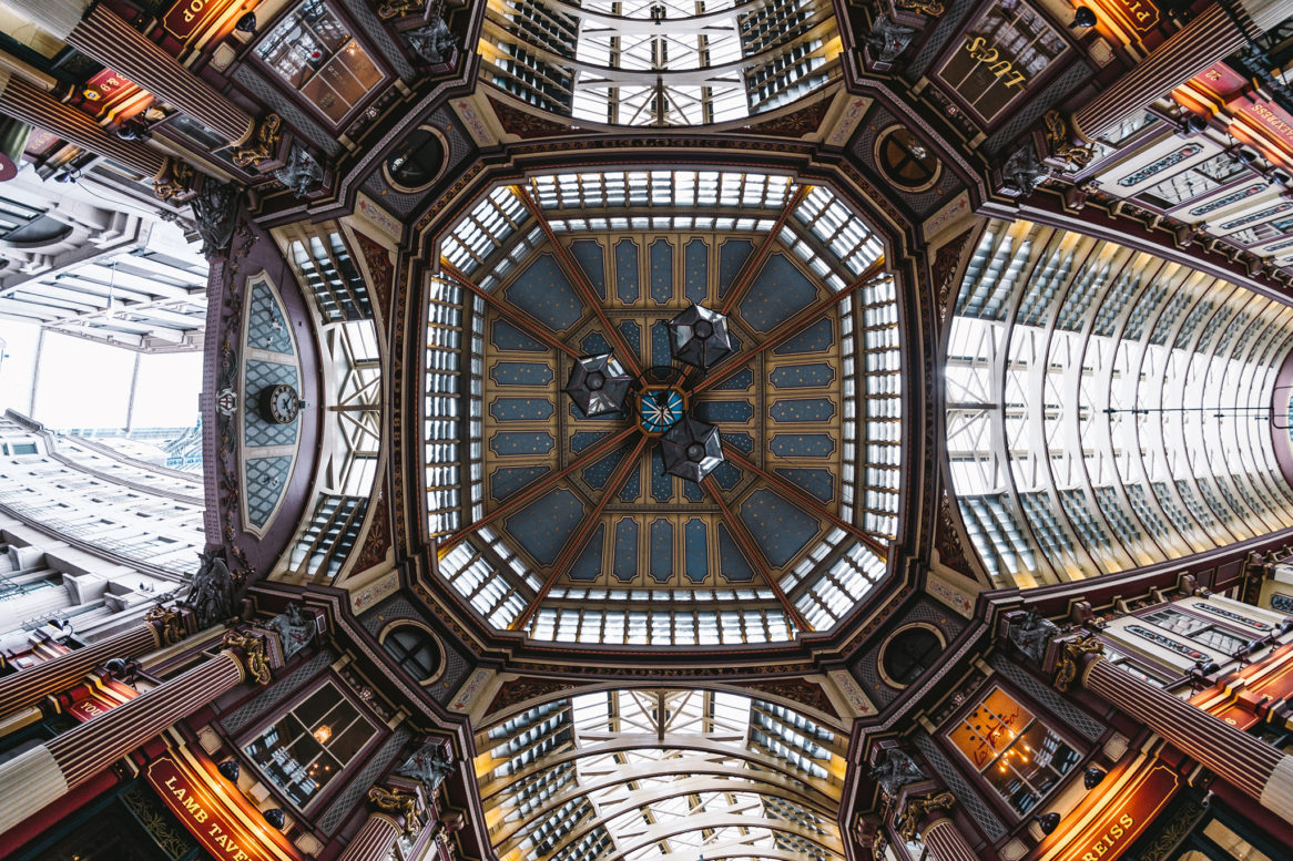 Picture of the beautifully symmetrical glass roof at Leadenhall market
