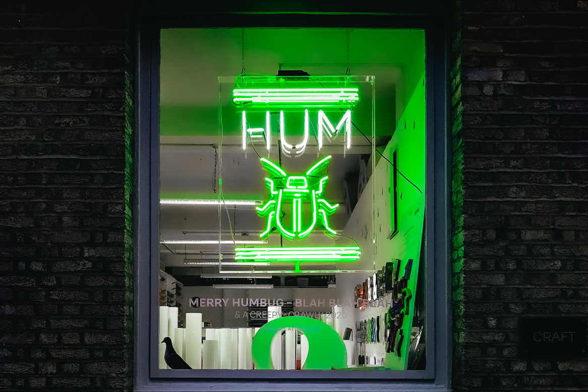 Lit up green neon sign of the Christmas bug in the Glyphics window.
